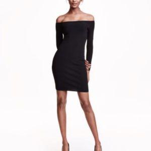 H&M Ribbed Off-the-shoulder Dress, long sleeve